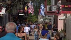 Tourists visit historic St George Street, St Augustine, Florida, USA Stock Footage
