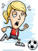 Exhausted Cartoon Soccer Player Stock Illustration