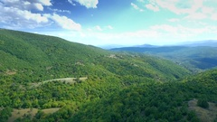 Mountain Scenery Aerial Nature Green Forest Countryside Landscape Wide Horizon Stock Footage