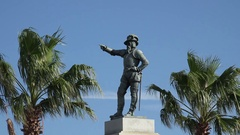 Statue of Juan Ponce de Leon, St Augustine, Florida, USA Stock Footage