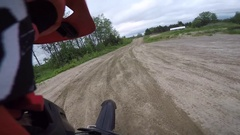 Motocross rider big gap jump helmet cam gopro Stock Footage