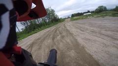 Motocross rider big gap jump helmet cam gopro Stock Footage