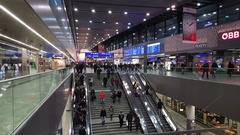 Passengers walking at the main railway station of Vienna Stock Footage
