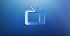 Television TV Blue 3d Icon Stock Footage