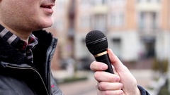 Interview from side angle Stock Footage