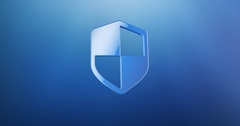 Defend Shield Blue 3d Icon Stock Footage