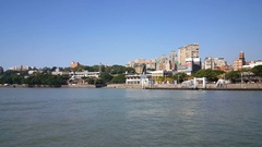 Skyline Tamsui seen from boat Stock Footage