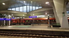 Main railway station pan left to right interior Stock Footage