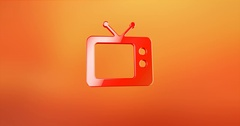 Television TV Red 3d Icon Stock Footage