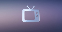 Television TV Silver 3d Icon Stock Footage
