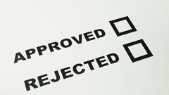 Male hand making mark on approved box versus rejected box on paper Stock Footage
