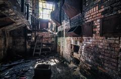 Dilapidated factory foundry Stock Photos