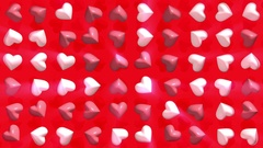 Rotating, throbbing hearts on a red background Stock Footage