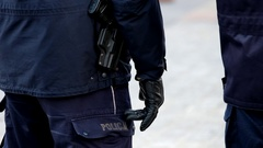 Armed with a pistol police ready to use weapons Stock Footage