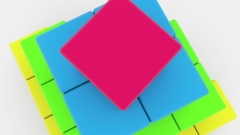 Pyramid of toy cubes in various colors Stock Footage