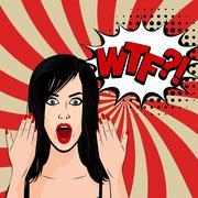 Angry sexy brunette girl pop art Stock Illustration