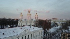 Aerial Cinematic View: St.Nicholas Naval Cathedral panorama in winter sunset,SPb Stock Footage