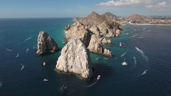 Aerial shot of El Arco arch. Cliffs and rocks - Cabo San Lucas, Mexico Stock Footage