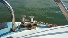 Rope and mooring bollard on a ship. Stock Footage