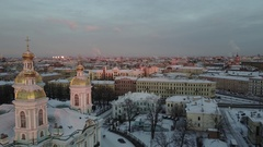 Aerial View: St.Nicholas Naval Cathedral cityscape in winter sunset, SPb Stock Footage