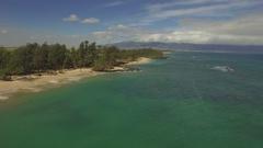 Deserted Tropical Beacj. Baldwin Beach, Pai'a Bay, Maui - Aerial Stock Footage