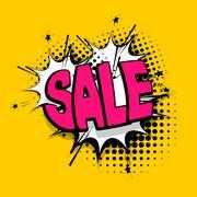 Lettering sale, tag comics book balloon Stock Illustration