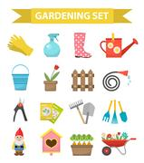 Gardening icon set, flat style. Garden and orchard collection tools decoration Piirros