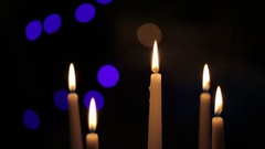Burning candles close up Stock Footage