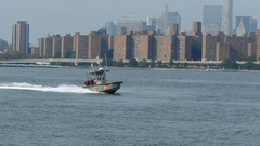 US Coast Guard Boat on East River, New York City Stock Footage