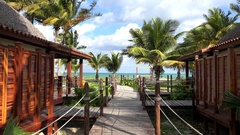 Types of the Cayo Levisa Island hotel. Wooden walking deck to the beach. Cuba. Stock Footage