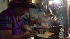 Thailand Hua Hin food market  banana loti fruit stall Stock Footage