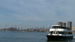 New York City Ferry on East River Docking in Long Island City, NY Stock Footage