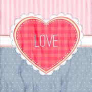 Happy valentines day card. red heart on dark blue background Stock Illustration