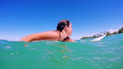 Lifestyle Young Woman Surfing, Paddling, Smiling At A Paradisiac Beach Stock Footage