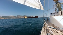 Bow of the yacht with in the black sea Stock Footage