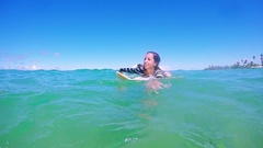 Two Beautiful Attractive Surf Friends Paddling Next To Seashore Surfing Stock Footage
