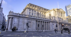 Time lapse panning view of the Bank of England in the  City of London Stock Footage