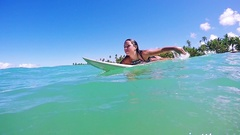 Adventurous Attractive Young Surfer Paddling Surfing Happy Stock Footage