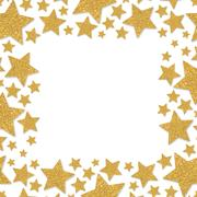 Frame with shimmer stars. Gold sparkle frame of star. Yellow confetti. Piirros
