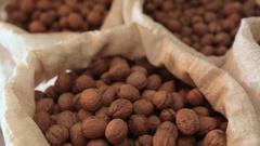 Many walnuts, camera sliding over Stock Footage