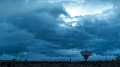 Radio Telescope Storm Clouds Stock Footage