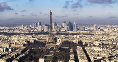 Panning aerial time lapse view of the Eiffel tower and La Defense in Paris Stock Footage