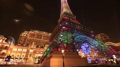 The Parisian Macau Casino Stock Footage