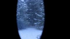 Looking on winter through the door window Stock Footage