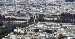 Aerial tilt up time lapse view of the Grand Palais and Petit Palais in Paris Stock Footage