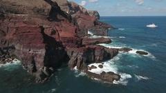 Aerial view of Ocean cliff, steep rocky coastline - San Benedicto Island Stock Footage