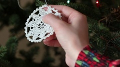 Hanging decorations on Christmas tree Stock Footage