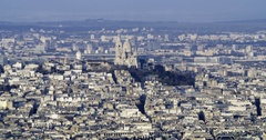 Aerial tilt up time lapse view of the Sacre Coeur in Montmartre in Paris Arkistovideo