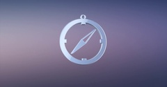 Navigation Compass Silver 3d Icon Stock Footage
