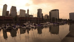 Evening in Puerto Madero in Buenos Aires Stock Footage